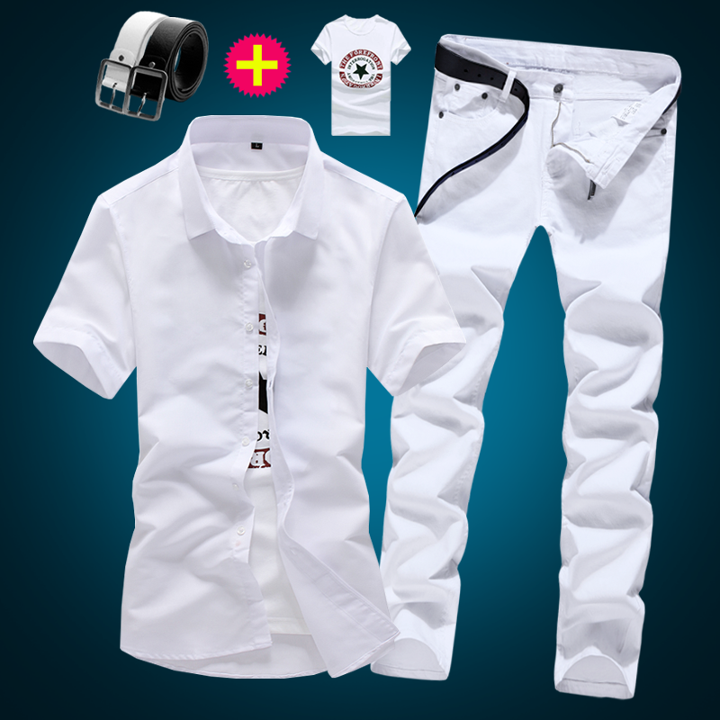 Spring Summer Short Men's Shirt Pencil Pants 2pcs Set Solid Color Jeans Trousers Cotton Shirts Male Sets Casual D11