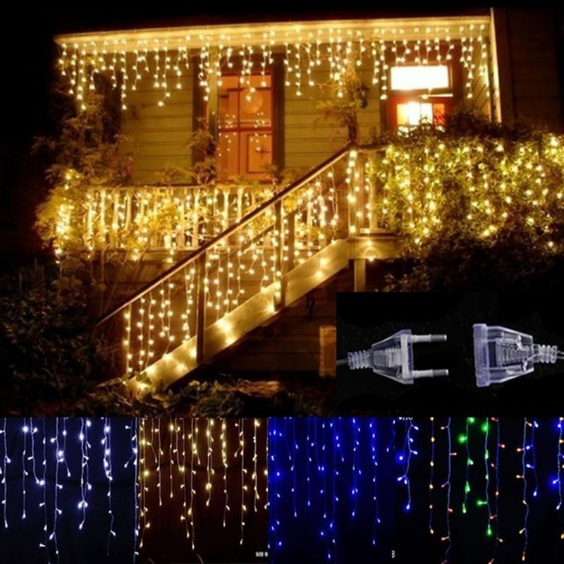 Solar Power Xmas Decor Outdoor Landscape Lamp Curtain Light String Festival LED Curtain Icicle String Light