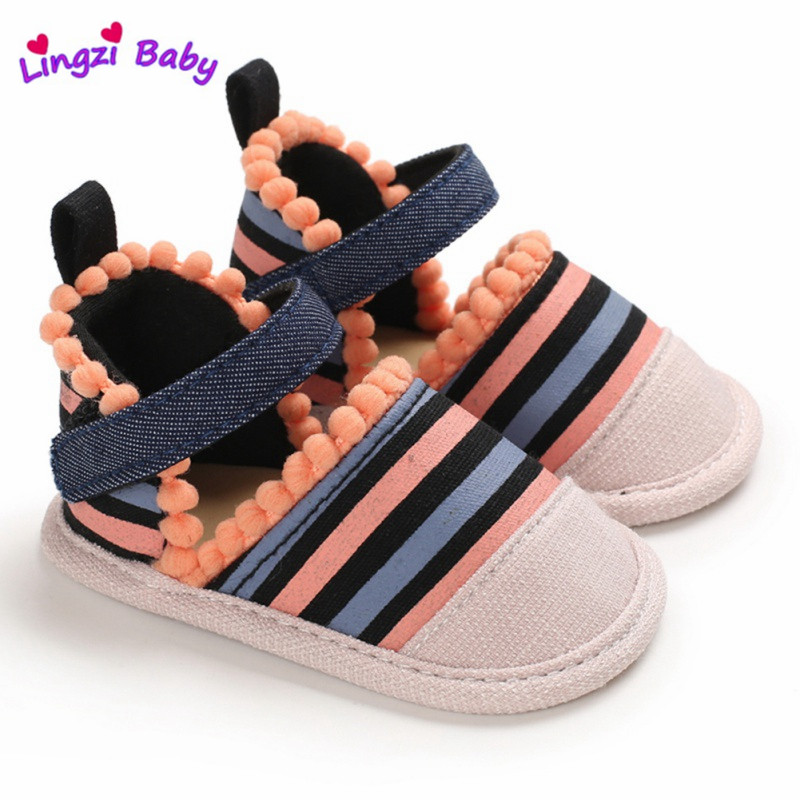 Baby Kids Sandal Girl Colorful Striped Crib Shoes Summer Children Breathable Anti-Slip Kid Cotton Shoes