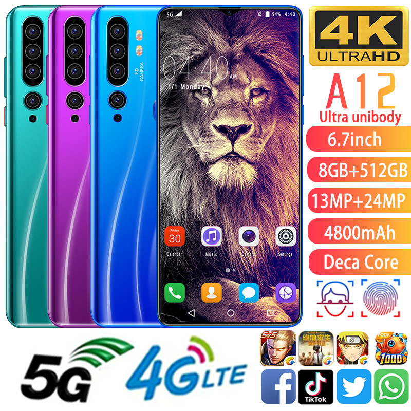 A12 Cellphone MTK6799 Phones Deca Core 6.7inch HD+1440*3040 Cell Phones 5G  Phone 8GB+512GB Mobile Phone 13MP+24MP