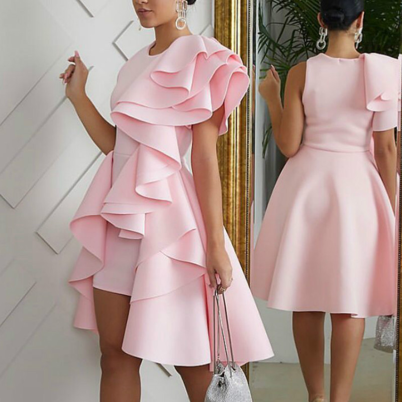 Pink Cocktail Dresses Short Front Long Back High Low Sexy Ruffles Sweety Party Dress Homecoming Gown Real Dress In Stock ESAN250