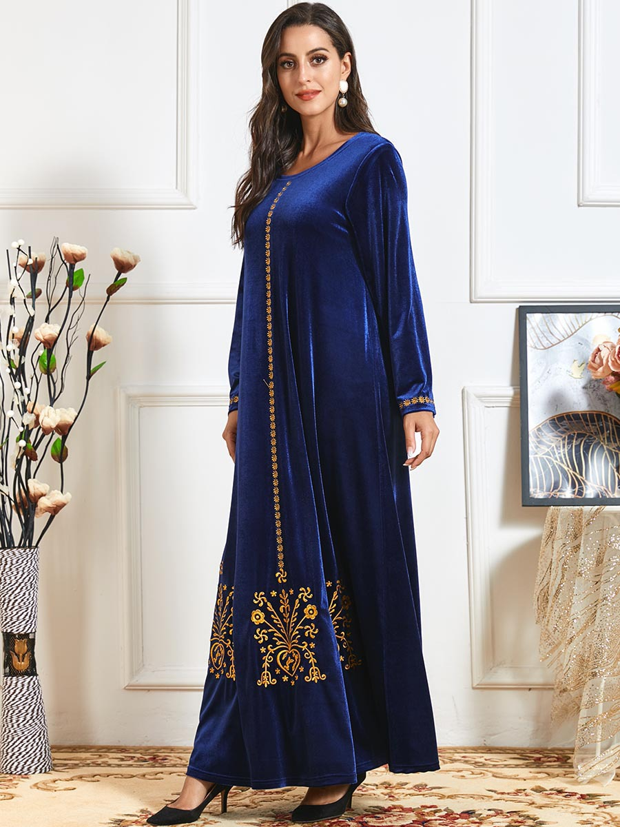 Elegant Long Velvet Embroidery Maxi Dress