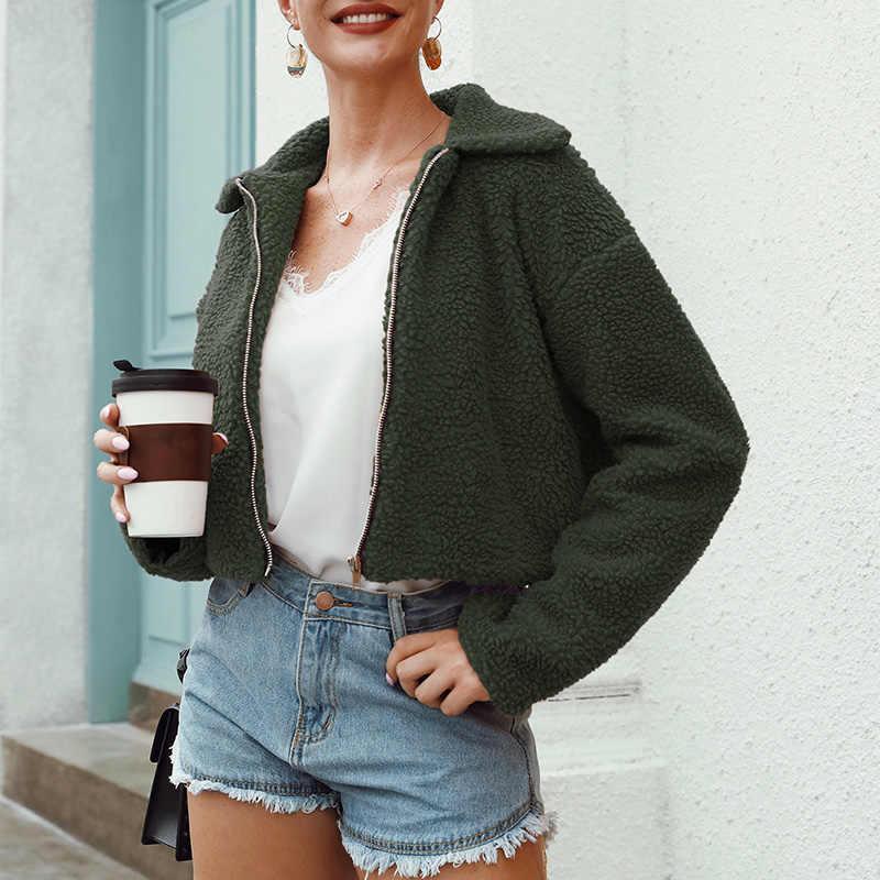 Mode Bär Stoff Mantel Frauen Kurze Jacke Gerade Winter Mantel Weibliche Berber Fleece Top Zipper Casual Oberbekleidung Mint Grün