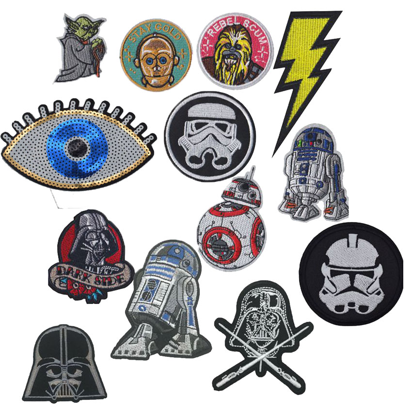 1PC New Arrivals Rainbow Horse Parches Embroidered Patches Robot Iron On Patch Yoda Clothes Badge Decal T shits Accessory in Patches from Home Garden