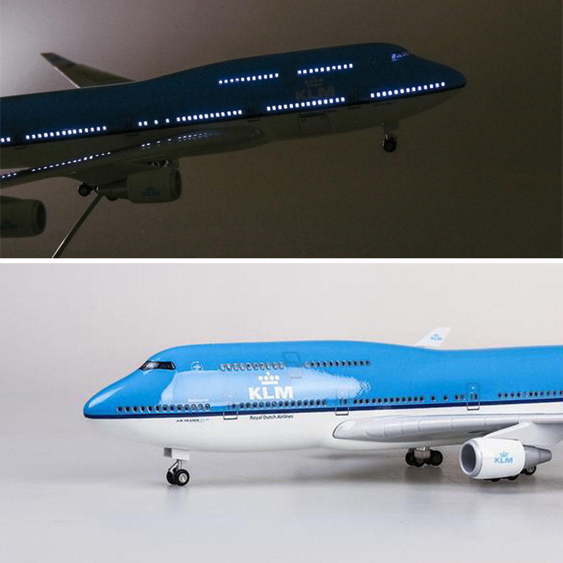 1/157 Scale 47CM Resin Airplane Model Boeing B747 KLM Royal Dutch Airlines Plane Model With Light Wheels Airbus For Collection image