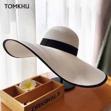 Chapéu de palha com aba grande, elegante, estilo verão, aba larga, preto, branco, boné de sol, praia, dobrável, novos, 2020 para mulheres senhora