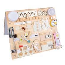 1 Set Children Interactive Wooden Busy Board Premium Durable Busy Board
