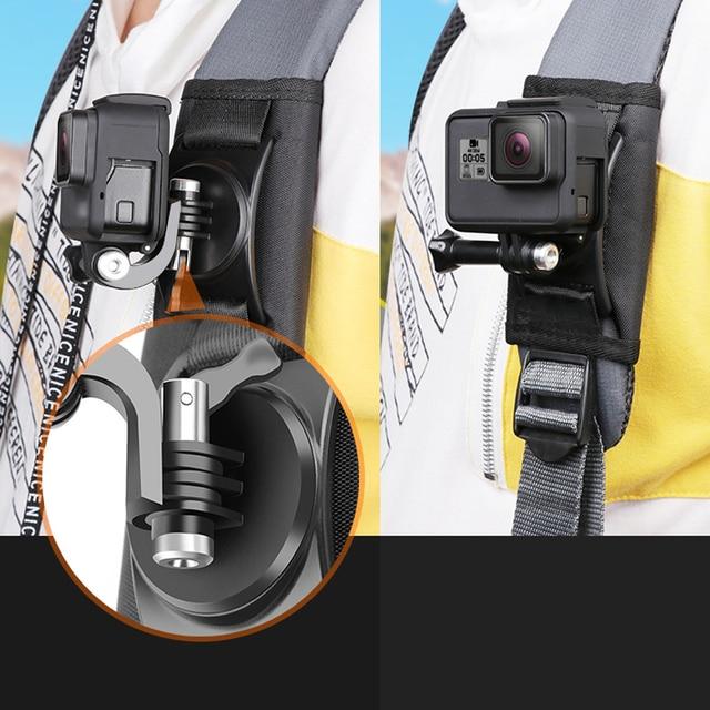Quay 360 Độ Ba Lô Kẹp Gắn Cho GoPro Hero 8 7 6 5 4 dành cho Đi Pro Thể Thao Xiaomi máy Quay hành động Phụ Kiện