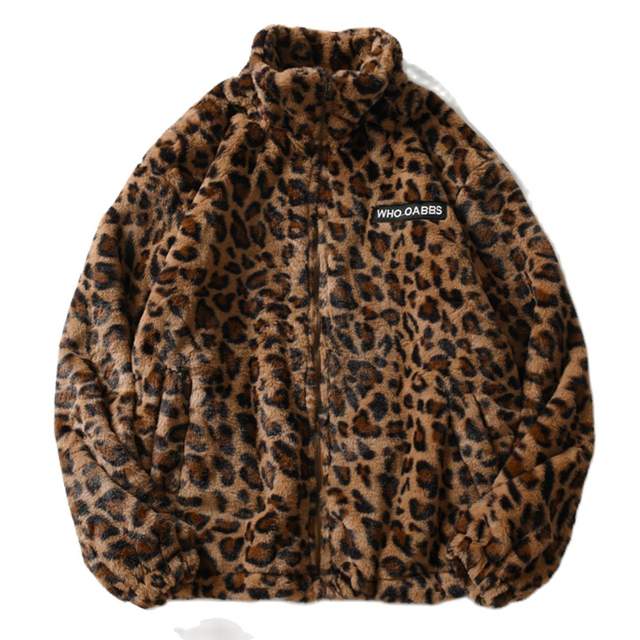 Hip Hop Lambswool Sherpa Jacket Mens Streetwear Leopard Pattern Stand Cardigan Coats Winter Harajuku Loose Couple Coats Outwear
