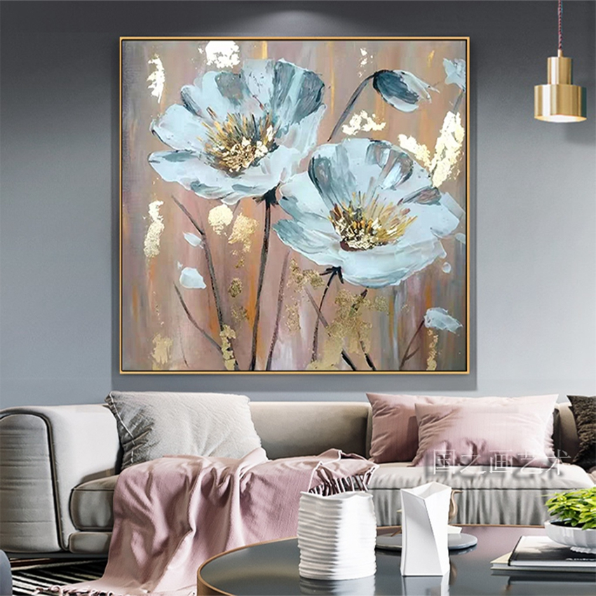 Beautiful Pictures Of Flowers For Home Wall Decoration Handmade Canvas Oil Painting Acrylic Poster For Living Room Sofa Bedroom Leather Bag