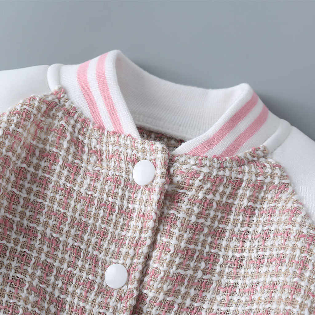 Chaquetas de béisbol de otoño para niñas recién nacidas de manga larga gruesa chaqueta de cuadros trajes ropa suéter ropa deportiva abrigo