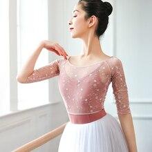 Women Crop Top Lace Dance Tops Embroidery Mesh Ballet T shirt Ballerina Dancewear Half Sleeve Ballet Clothes dance costumes