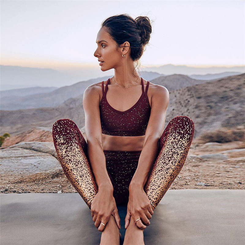 SALSPOR-Women-Stamping-Yoga-Pants-Golden-Print-High-Waist-Push-Up-Sports-Leggings-Gym-Elastic-Fitness