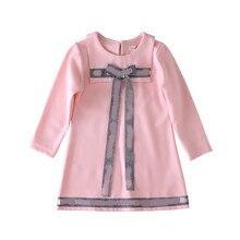 Bongawan платья для девочек с буквенным принтом; лента с принтом, длинное, прямое осенне Зимняя детская одежда размер на 3–8 лет рождественское платье для девочек