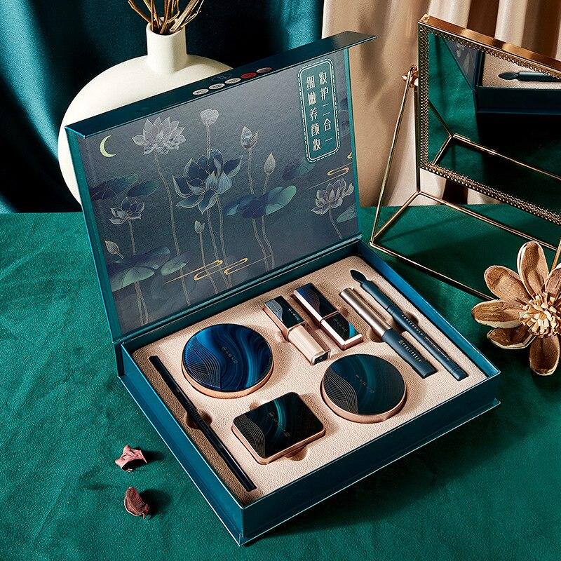 8 pçs beleza maquiagem conjunto de cosméticos lótus pond luar compõem caixa de presente terno batom marfim corretivo sombra olho configuração em pó