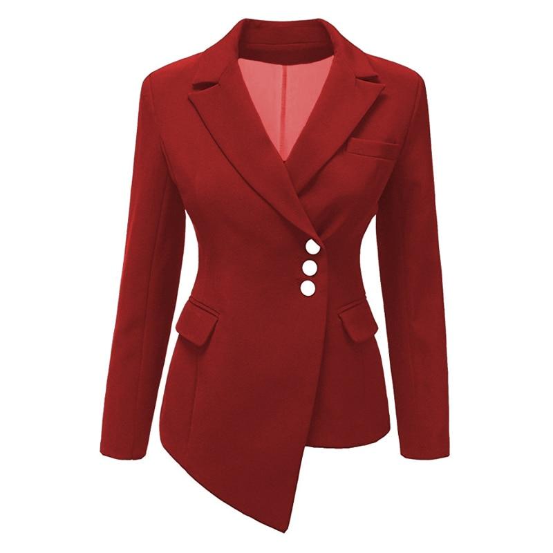 Women Lapel Blazers Coat Solid Long Sleeve Single Breasted Office Lady Pocket Cotton Asymmetry Casual Suit Jacket Blazer Thin