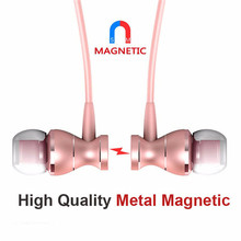 Metal Adsorption Magnet Earphone Headphone For Xiaomi Stereo Bass Headset Metal Wired Earphone HiFi Headphones Mic 2019