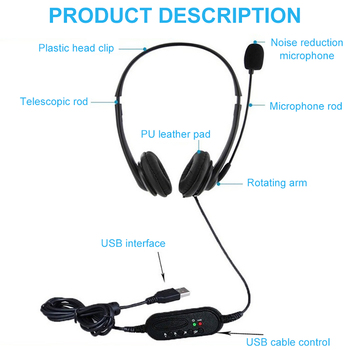 Call Center Wired Headset With Microphone Telephone Operator Headphone Noise Canceling for Computer Phones Desktop Boxes 2