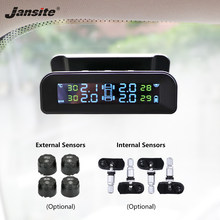 Jansite Tpms Auto Bandenspanning Alarm Monitor Systeem Real-Time Display Aan Glas Draadloze Zonne-energie Tpms Met 4 Sensoren(China)