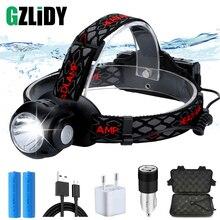 цена на USB Rechargeable LED Headlamp 7 Mode T6 + COB Multi-function Waterproof Headlight with Power Indicator Light Using 18650 Battery