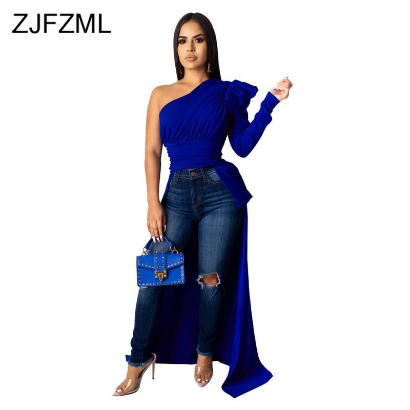 Сексуальная Асимметричная Макси-блузка на одно плечо 2020, Женская длинная рубашка с пышными рукавами спереди, с открытой спиной, Осенние вечерние топы с высокой талией и открытой спиной