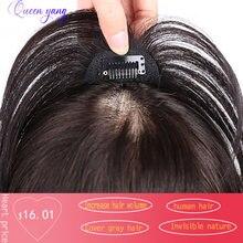 Queenyang короткие прямые человеческие волосы челка для наращивания