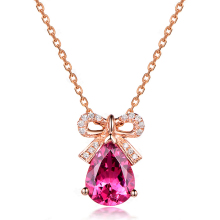 luxury water drop Pigeon blood crystal fashion women bowknot necklace pendant gold chain elegant necklace accessories jewelry gi