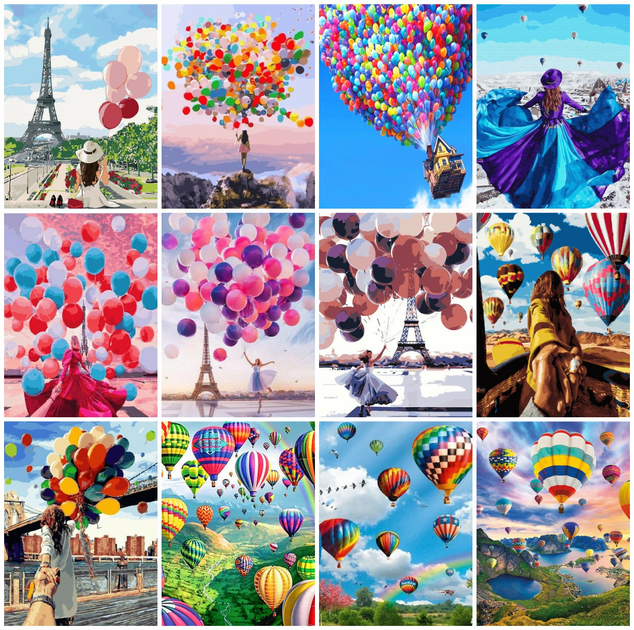 AZQSD Painting By Number Balloon Coloring By Numbers Landscape Arcylic Oil Painting HandPainted Kit Canvas Home Wall Decor