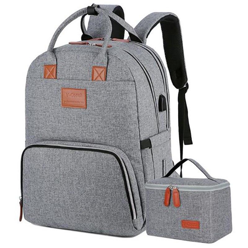 2 Pcs/set Insulation Bag Large Nappy Bag Backpack Travel Babg Care Mummy Breast Milk Fresh Keeping Bag Stroller Food Bag BNA045