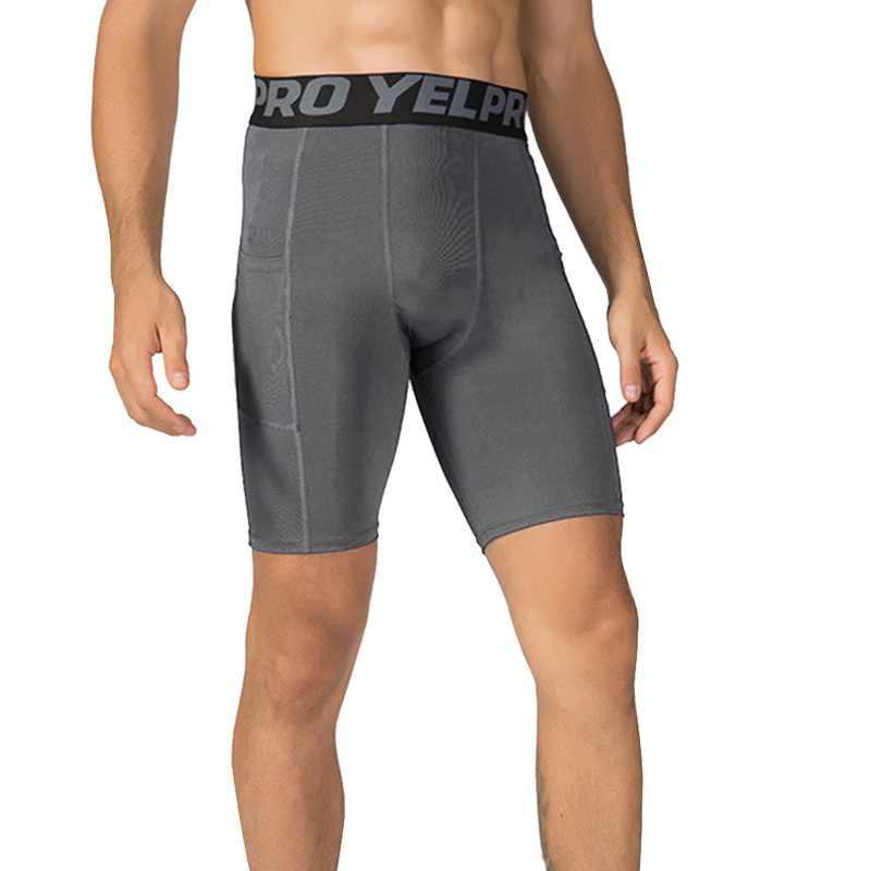 2019 nowe męskie spodenki kompresyjne krótkie rajstopy Skinny kulturystyka oddychające męskie spodenki Fitness szorty z kieszeniami
