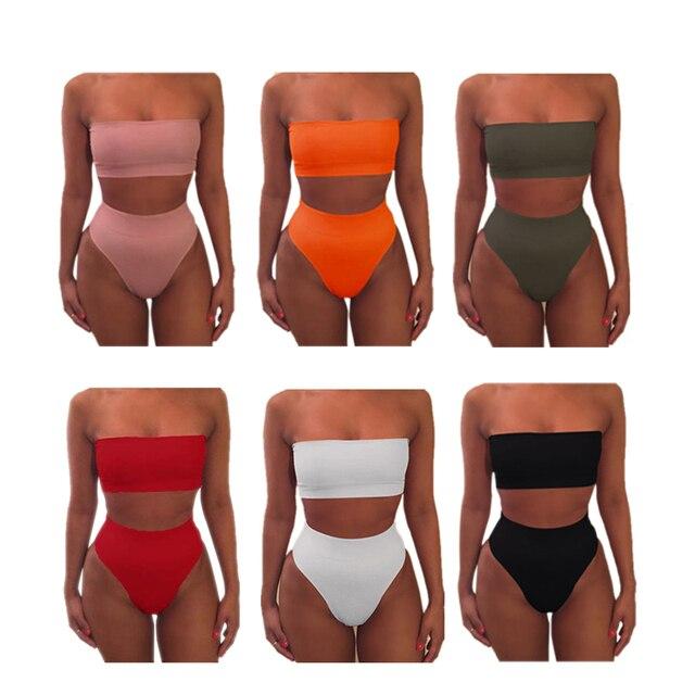 2020Womens Bandeau High Waist Bandage Bikini Set Swimwear Beach Swimsuit Push Up Swimwear Bathing Suit