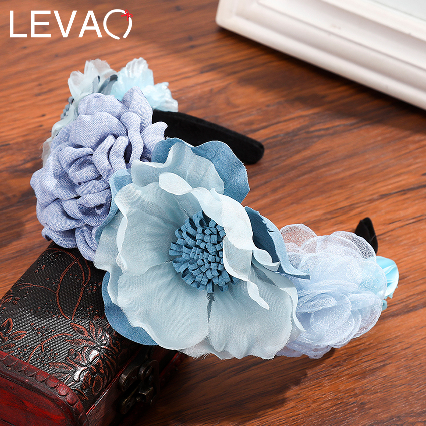 Levao Colorful Flower Hair Hoop Floral Crown Headband For Women Tiara Headwear Net Yarn Flowers Garland Wreath Hair Accessories