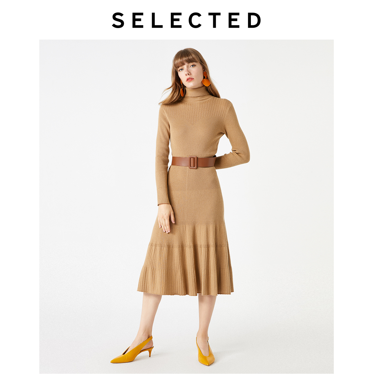 SELECTED Women's Slim Fit Umbrella Mid-length Knitted Dress S|419446505