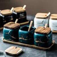 北欧マット大理石セラミック調味料缶単一塩缶家庭用調味料ボックスキッチン調味料調味料 3 個セット -