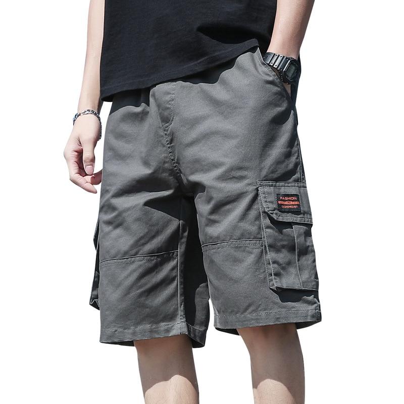 Ins Fashionable Men's Cargo Shorts Loose Drawstring Half Pants Casual Tide Sup Streetwear Big Pocket Cotton Sports Beach Pants