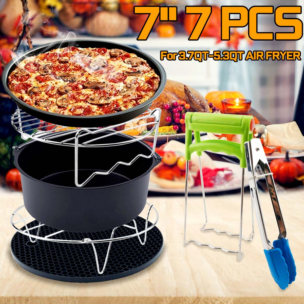 7PCS Air Fryer Accessories Cooking Fit All Airfryer For 3.7QT-5.3QT Food Dish Plate Food Clip Pizza Pan Cake Barrel Silicone Mat