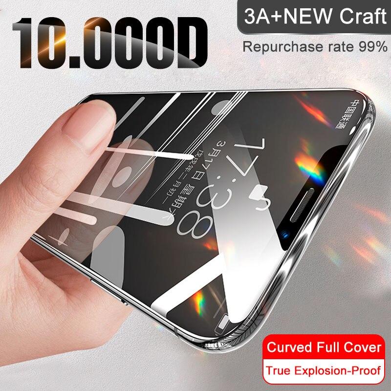 غطاء كامل زجاج على آيفون 11 برو ماكس XS ماكس XR X حامي الشاشة الزجاج المقسى آيفون 11 SE 10 7 8 6s زائد فيلم الزجاج|واقيات شاشة الهاتف|   - AliExpress