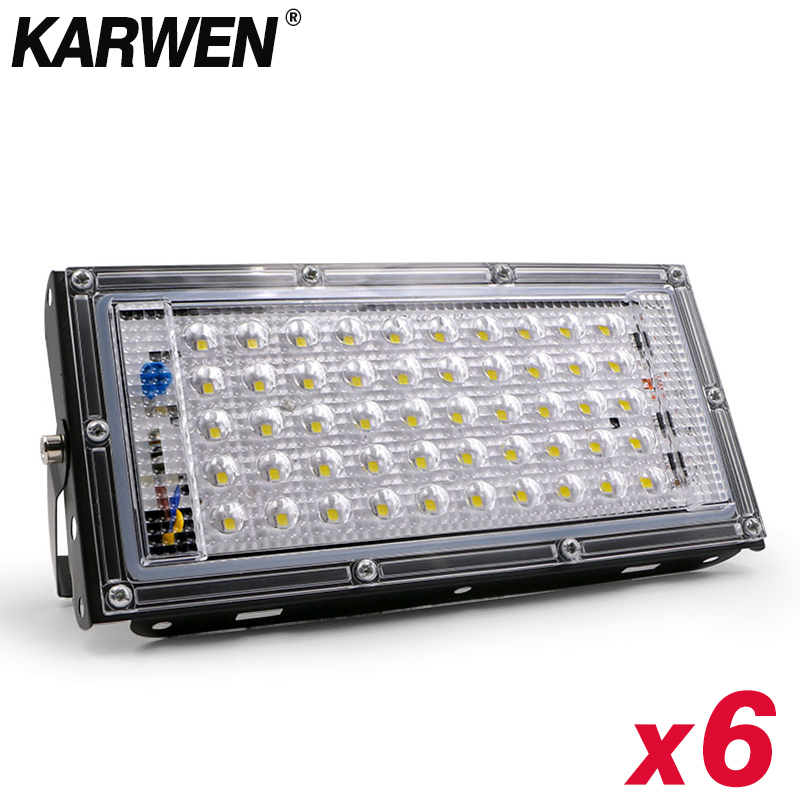 6pcs/lot Waterproof Ip65 LED Flood Light 50W AC 220V 240V Spotlight Led Reflector Floodlights Outdoor Garden Lighting