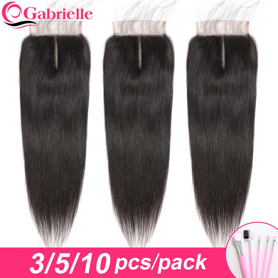 Gabrielle Lace Closure 3/5/10 pcs Brazilian Straight Hair 4x4 Closure with Baby Hair Free/Middle/Three Part Remy Human Hair