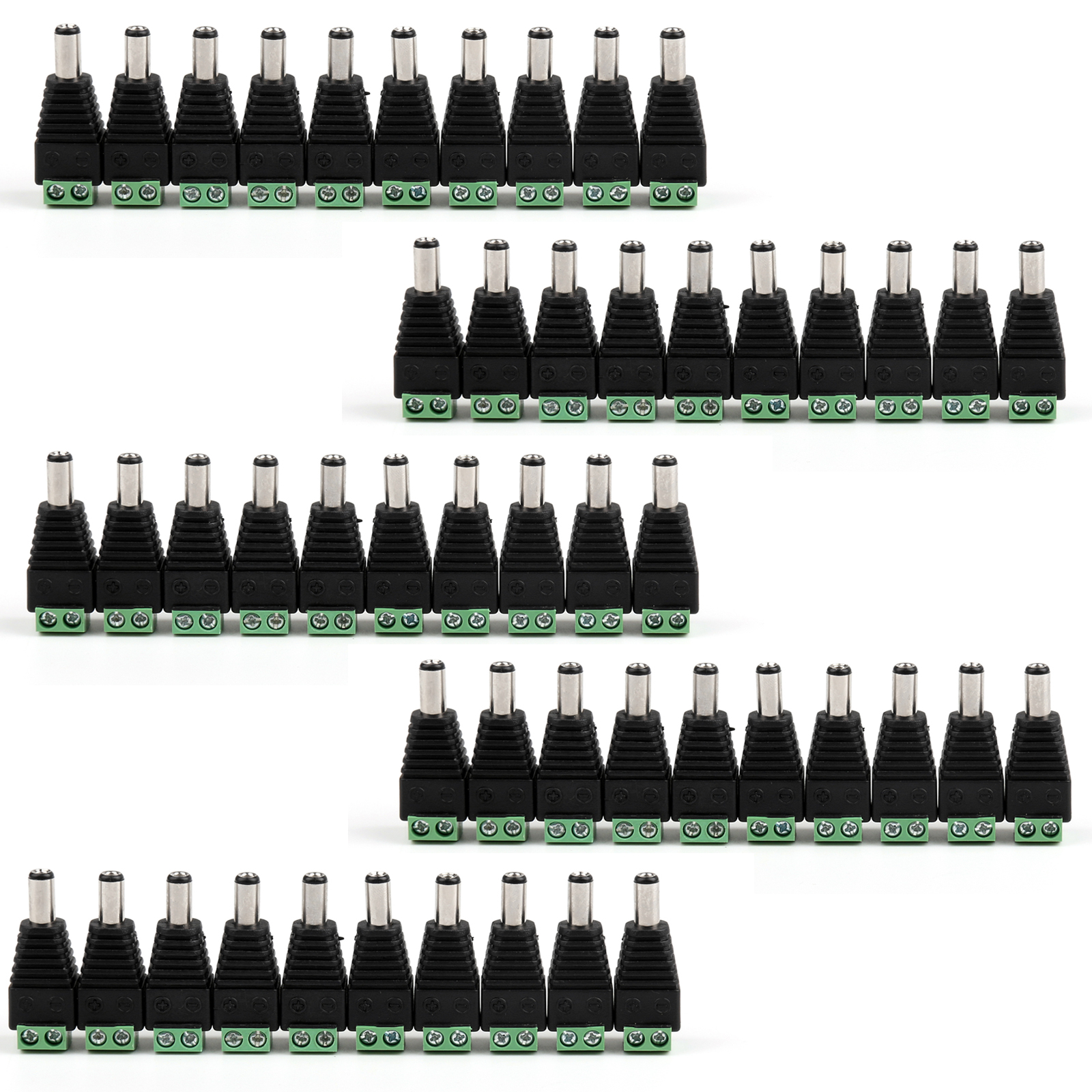 Areyourshop 50Pcs <font><b>5.5</b></font> x 2.5mm <font><b>DC</b></font> Power Male Jack <font><b>Plug</b></font> For CCTV Monitor Camera image