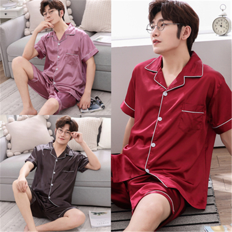 Comfortable Pajamas Men's Summer Short-sleeved Thin Men's Korean Summer Ice Silk Large Size Casual Silk Casual Home Clothing