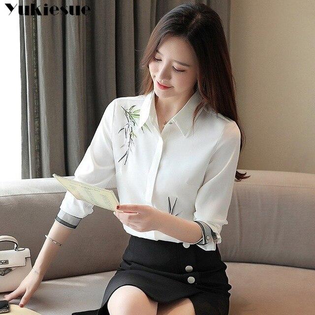 2020 Autumn New Fashion Women Blouse Embroidery White Shirt Long Sleeve Casual Tops Loose Shirt Blusas Feminina Plus size 2
