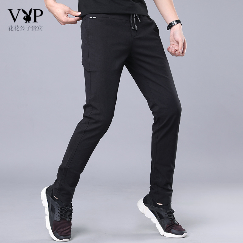 Playboy Vip Casual Pants MEN'S Pants Elasticity Athletic Pants Korean-style Trend Teenager Slim Fit Skinny Pants