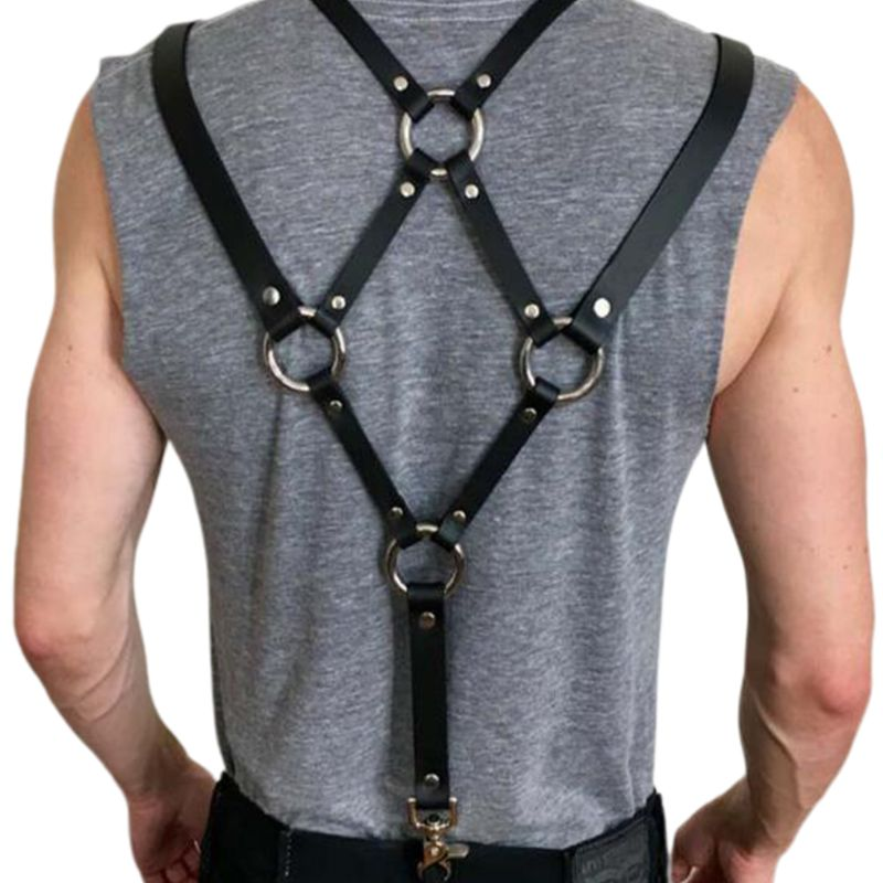 <font><b>Men</b></font> <font><b>Sexy</b></font> Harajuku Faux <font><b>Leather</b></font> Body Chest Harness Suspenders Punk Shoulder Strap C6UD image