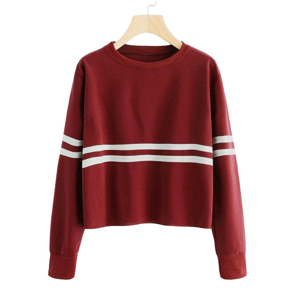FEITONG Womens sweatshirt pullovers Long Sleeve Stripe Printing Round Neck Casual Jumper Sweatshirt Blouse Top Tracksuit moletom