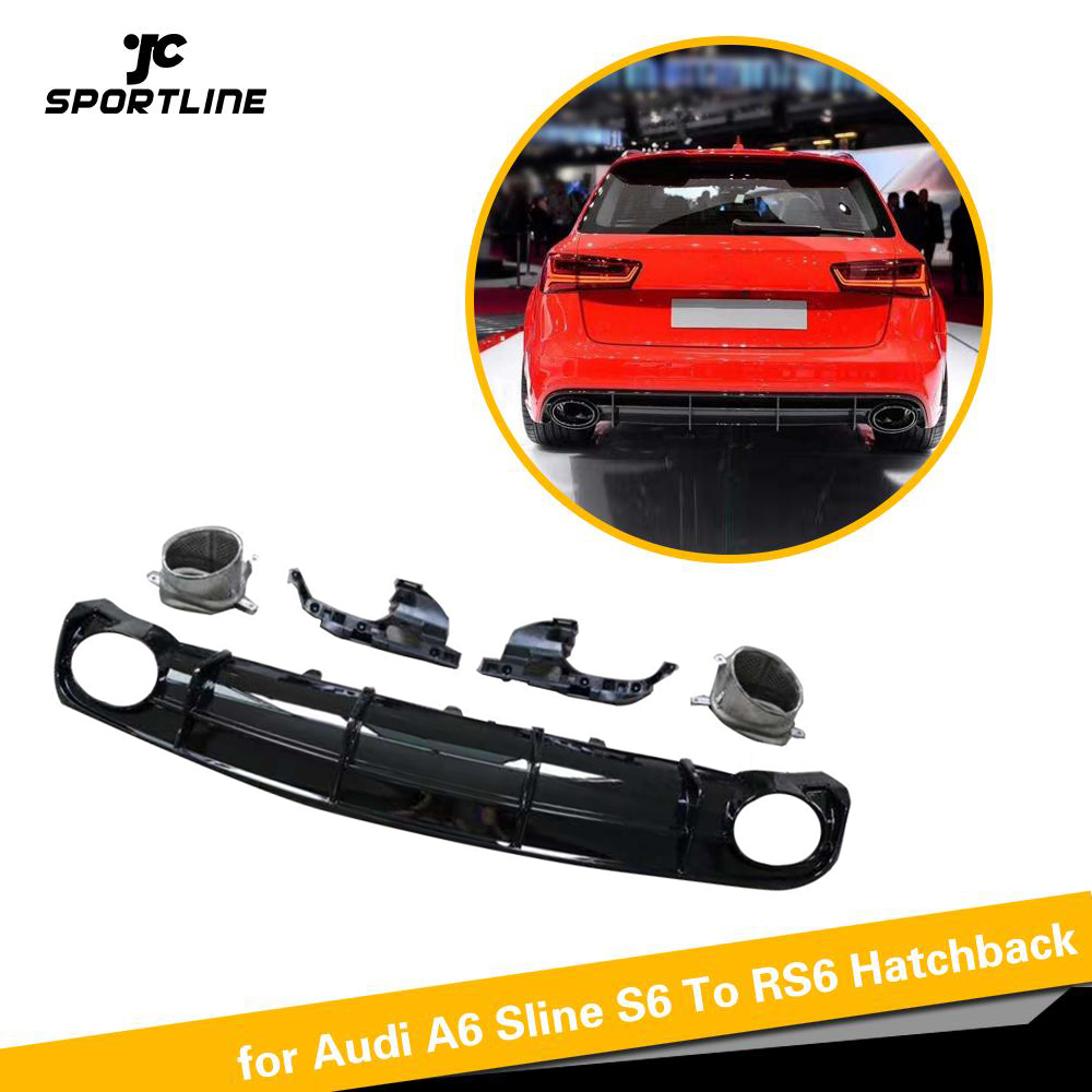 PP Car <font><b>Rear</b></font> Bumper <font><b>Diffuser</b></font> Lip Spoiler for <font><b>Audi</b></font> A6 S-line <font><b>S6</b></font> Hatchback Avant Touring 2015 - 2018 Not for RS6 Bumper Guard image