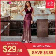 Длинные вечерние платья русалки Ever Pretty, бордовое платье с V образным вырезом, без рукавов, EZ07767, лето 2019
