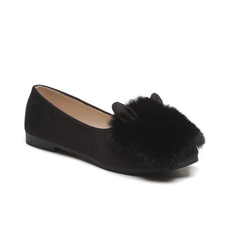 Women's Flats Slip-On Autumn Fashion Round Toe Casual Fur All-Match 35-40