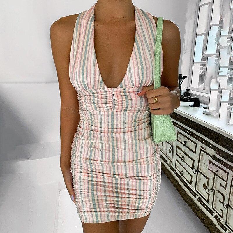 Elegant Striped Halter Dress Women Summer 2021 Ruched Wrap Dress Club Beach Party Bandage Sexy Bodycon Mini Dresses Casual