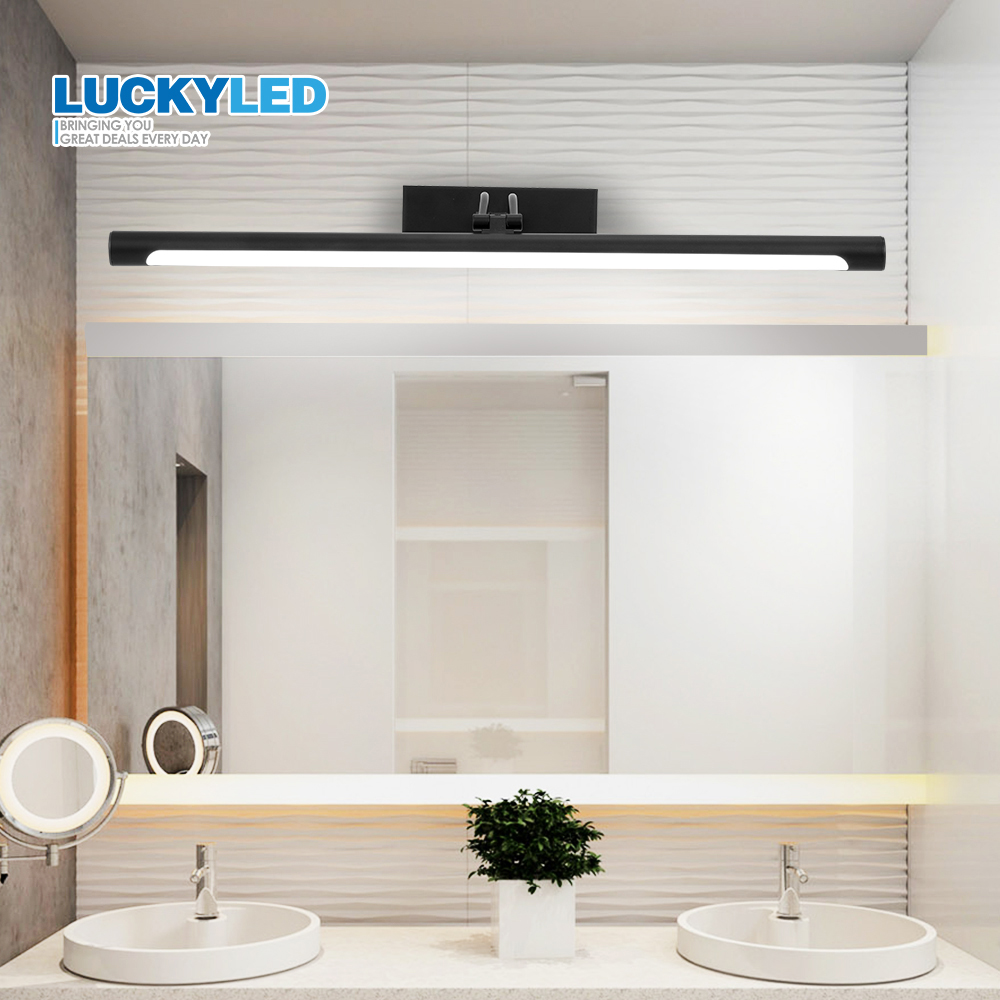 LUCKYLED Modern Mirror Light Bathroom Wall Lamp Loft 8W 12W 90-260V Wall Mounted Waterproof Sconce Vanity Light Black Shell